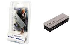 LogiLink USB 2.0 Mini Card Reader, All-in-1, silber/schwarzgeeignet für MMC/SC/SDHC/SD (T