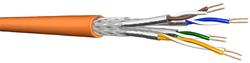 Draka S/FTP Patchkabel 100 m, Kat.7, 900 MHz, gelb,Folienpaar- und Geflechtsschirmung, ha