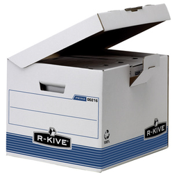 Fellowes BANKERS BOX SYSTEM Archiv-Klappdeckelbox Kubusblau, aus 100% recyceltem Karton,