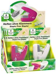WEDO Heftgerät Mini klammerlos, 6er Displayvom Hefter gestantzte Papierlasche wird in ein