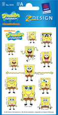 AVERY Zweckform ZDesign Sticker SpongeBob frontal aus Papier, Blattformat: 76 x 120 mm Inhalt: 3 Blatt � 12 Sticker (55113)