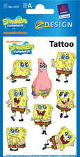 AVERY Zweckform ZDesign Tattoo SpongeBob + Patrick hautvertr�glich, Blattformat: 76 x 120 mm Inhalt: 1 Blatt � 8 Tattoos (55117)