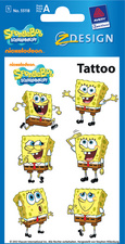 AVERY Zweckform ZDesign Tattoo SpongeBob hautvertr�glich, Blattformat: 76 x 120 mm Inhalt: 1 Blatt � 6 Tattoos (55118)